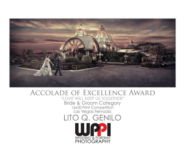 Lito Genilo's wedding photo bagged Accolade of Excellence Award in the Wedding-Bride & Groom Category, 16x20 Print Competition of WPPI 2013