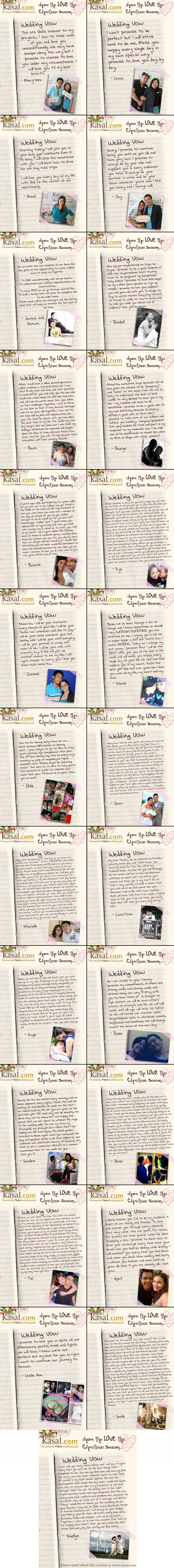 Wedding Vow Contest Entries