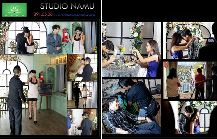 Katrina Halili and Kris Lawrence (left) and  Kris Bernal and Aljur Abrenica (right) in Studio Namu