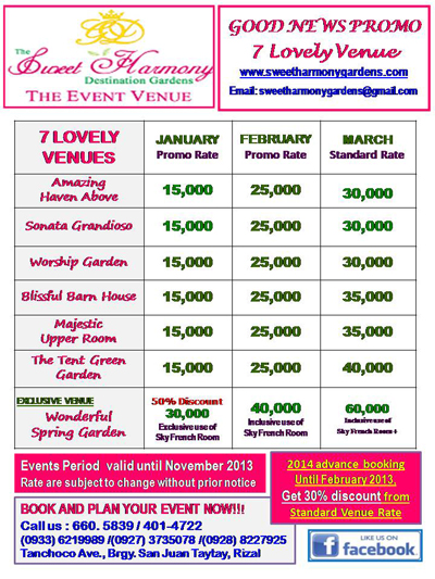Sweet Harmony Gardens Wedding Packages Tbrb Info