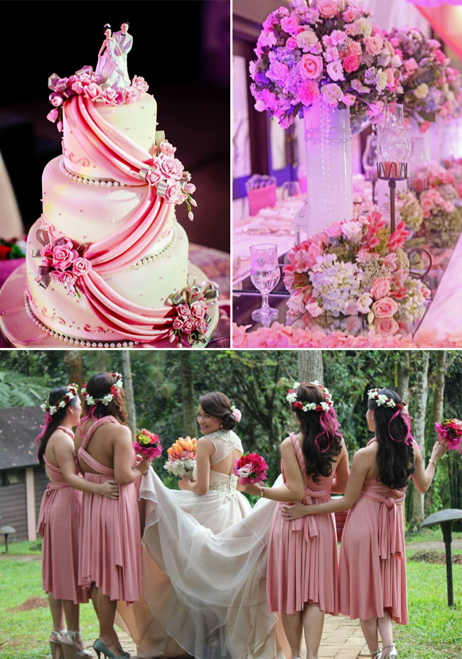 Top (left to right) Wedding Photogarphy by Bliss & Berries and Wedding Set-up by Natural Art Flowers and Decors Bottom: Wedding Gown by David & Rachel Bridal Boutique