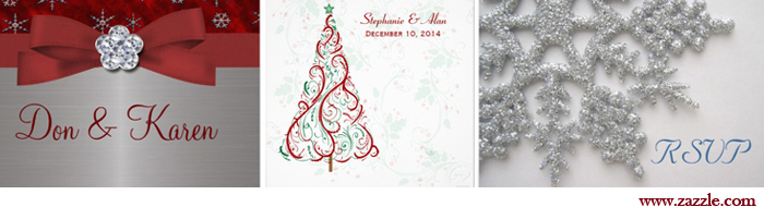 Christmas Wedding Invitations from www.zazzle.com