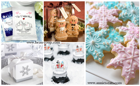 Christmas Wedding Favors from www.beau-coup.com and www.annies-eats.com