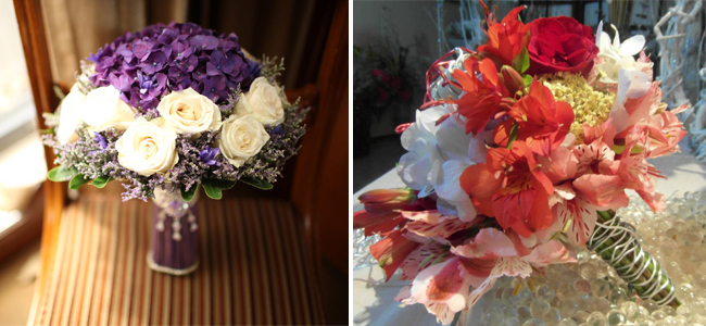Left: A beautiful patterned white and purple lined with baby's breath by Ysabela Florist and Vibrant and Right: Neutrals tones create the balance for this Amazing Touch Floral Design bouquet