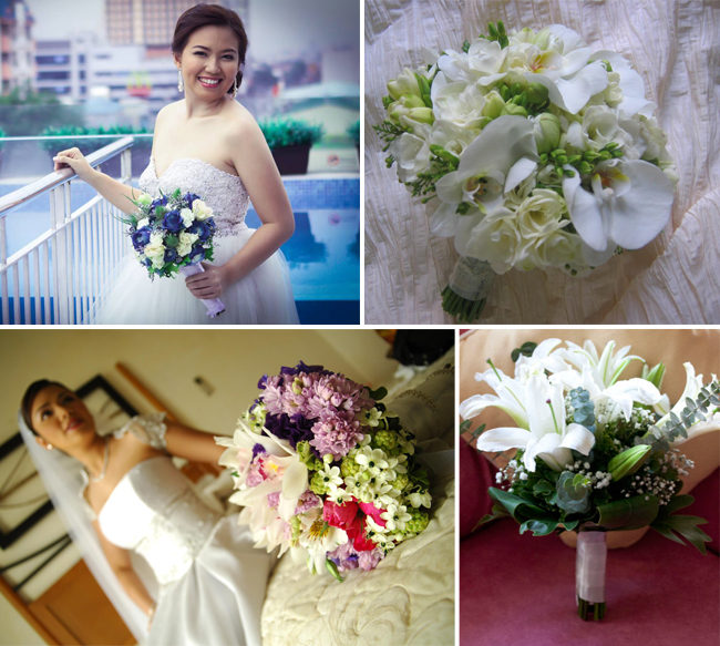 Top( left to right): Blue and White flowers for a Nosegay Bouquet by Amazing Touch Floral Design, Bouquet of Freesias and Phalaenopsis by 2171 Floral Creations Bottom( left to right): A variety of blooms for a bouquet by Henry Pascual Events Stylists and Jacqs Floral Design Studio bouquet using White Lilies as focal points