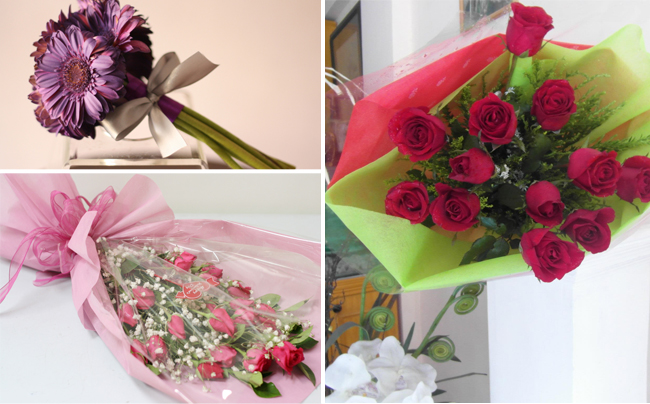 Left: Jacqs Floral Design Studio violet Loose tied Bouquet and a pageant bouquet of roses and Right: Pageant style bouquet by Amazing Touch Floral Design