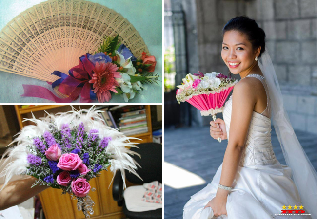Top left: Fan bouquet by Julius and Carol Flower Shop - may be nice for a hot setting for both bride and her entourage., Bottom left:An elaborate fan-shaped bouquet by Amazing Touch Floral Design —for themes that are loud and over-the-top and Right: Bride holding a tussy mussy bound arrangement by Ysabela Florist