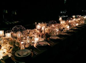bizu catering studio wedding setup in the dark