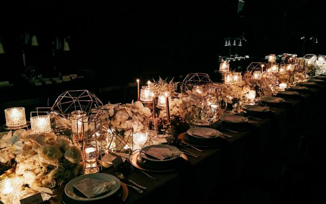 bizu catering studio wedding setup in the dark