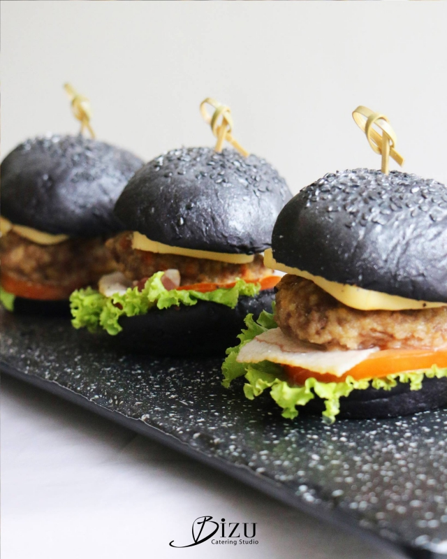 black bacon cheeseburger sliders with silver dust bizu catering