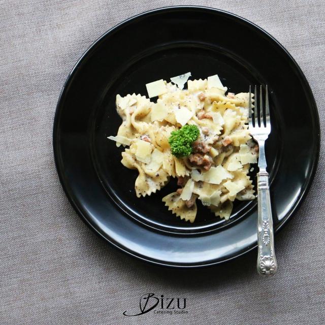 truffle farfalle pasta with parmesan bizu catering studio