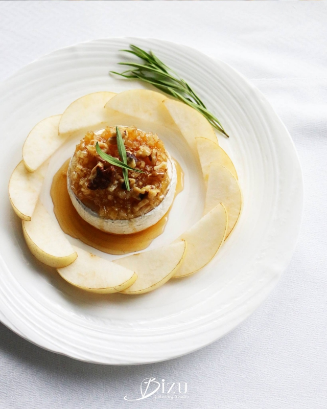 warm brie with pear bizu catering studio
