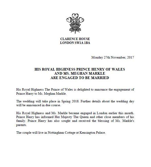 prince henry meghan markle engagement