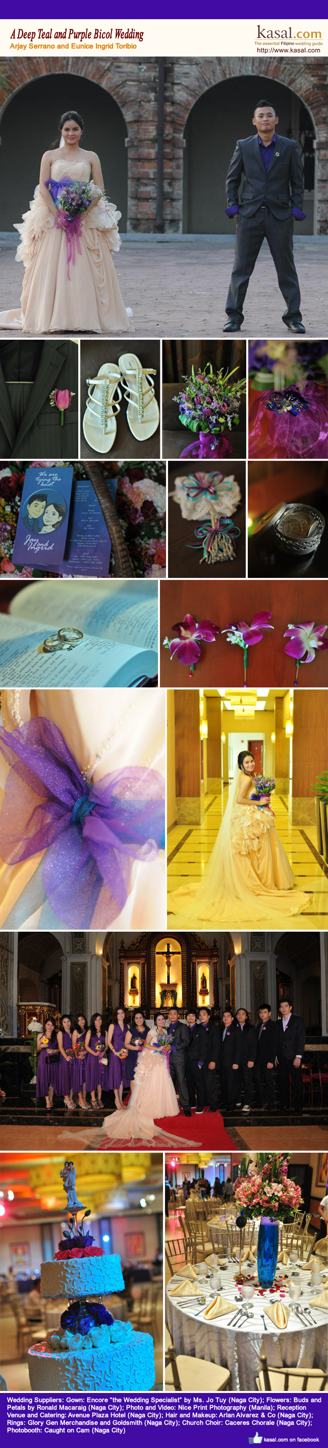 A deep teal and purple bicol wedding kasal the essential purple accent in the brides bridal gown boutonnieres for the groom and the groomsmen were the same color as the purple flowers in the brides bouquet stopboris Image collections