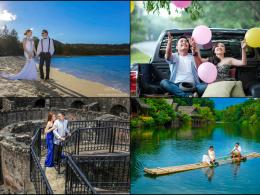 summer prenup shoot collage